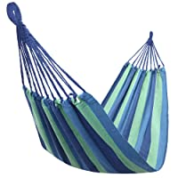 Teeker Portable Hammock for Outdoor Use,Polyester & Cotton Hammock Bed with Carry Bag 200x80cm (Blue & Green Strip)