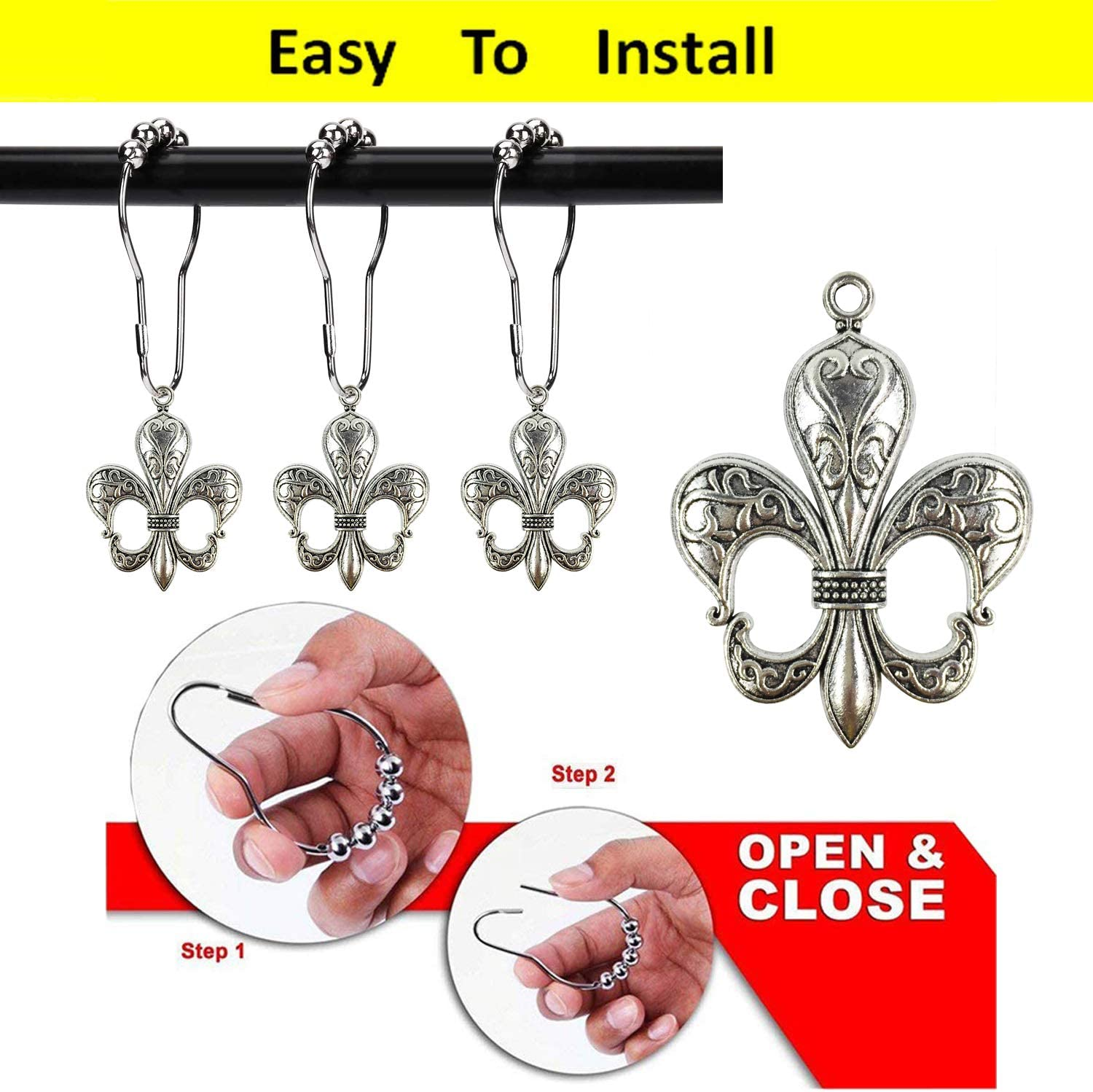 ZILucky Set of 12 Fleur De Lis Shower Curtain Hooks French Lily Royal Heraldry French Cottage Chic Historical Theme Style Decorative Home Bathroom Stainless Steel Rustproof Black