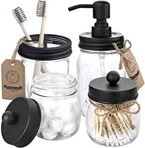 Mason Jar Bathroom Accessories Set 4 Pcs - Mason Jar Soap Dispenser & 2 Apothecary Jars & Toothbrush Holder - Rustic Farmhouse Decor, Bathroom Home Decor Clearance, Countertop Vanity Organize - Black