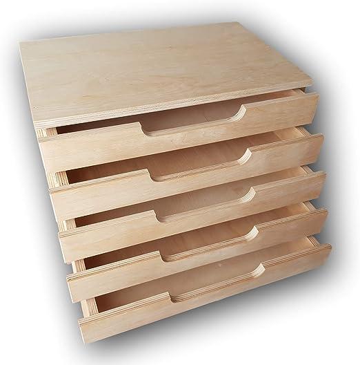 5 cajas Formato A4 cajones madera caja Decoupage regalo Decoupage pyrog raphy: Amazon.es: Hogar