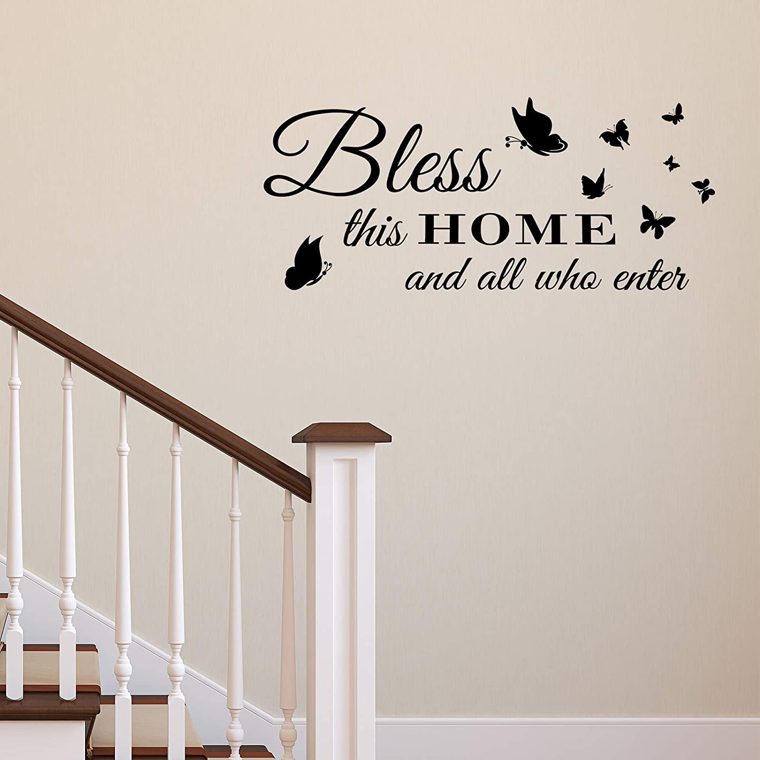 Wall Stickers for Living Room, Blessed Wall Decor Entryway Wall Decals Family Home Decorations Art Quotes Sticker, Bless This Home and All Who Enter (Black Butterfly)