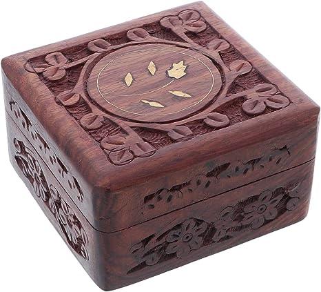 Wooden Jewellery Storage Box Small keepsake box Small Wooden Trinket Box Trinket box with Contemporary leaf design