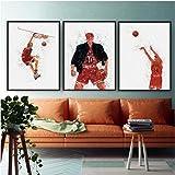 水彩画アートスラムダンクバスケットボールポスターキャンバスペインティングモダンキッズルームウォールアートピクチャーホームインテリア(50x70x3pcs cmフレームなし)