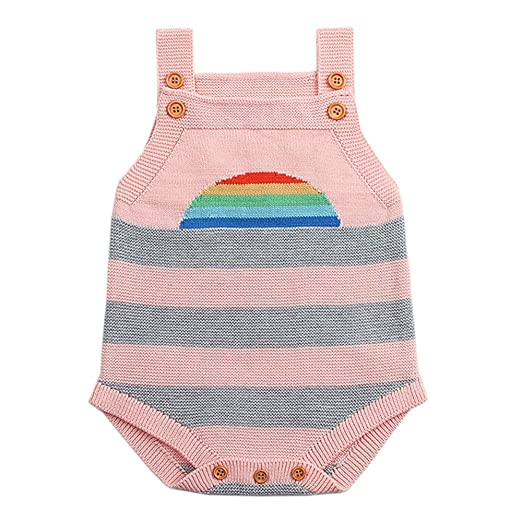 71c155d315ce Amazon.com  Outtop(TM) Baby Boys Girls Knitted Waistcoat Newborn Kids  Sleeveless Fall Winter Warm Vest Rainbow Rompers Jumpsuit  Clothing