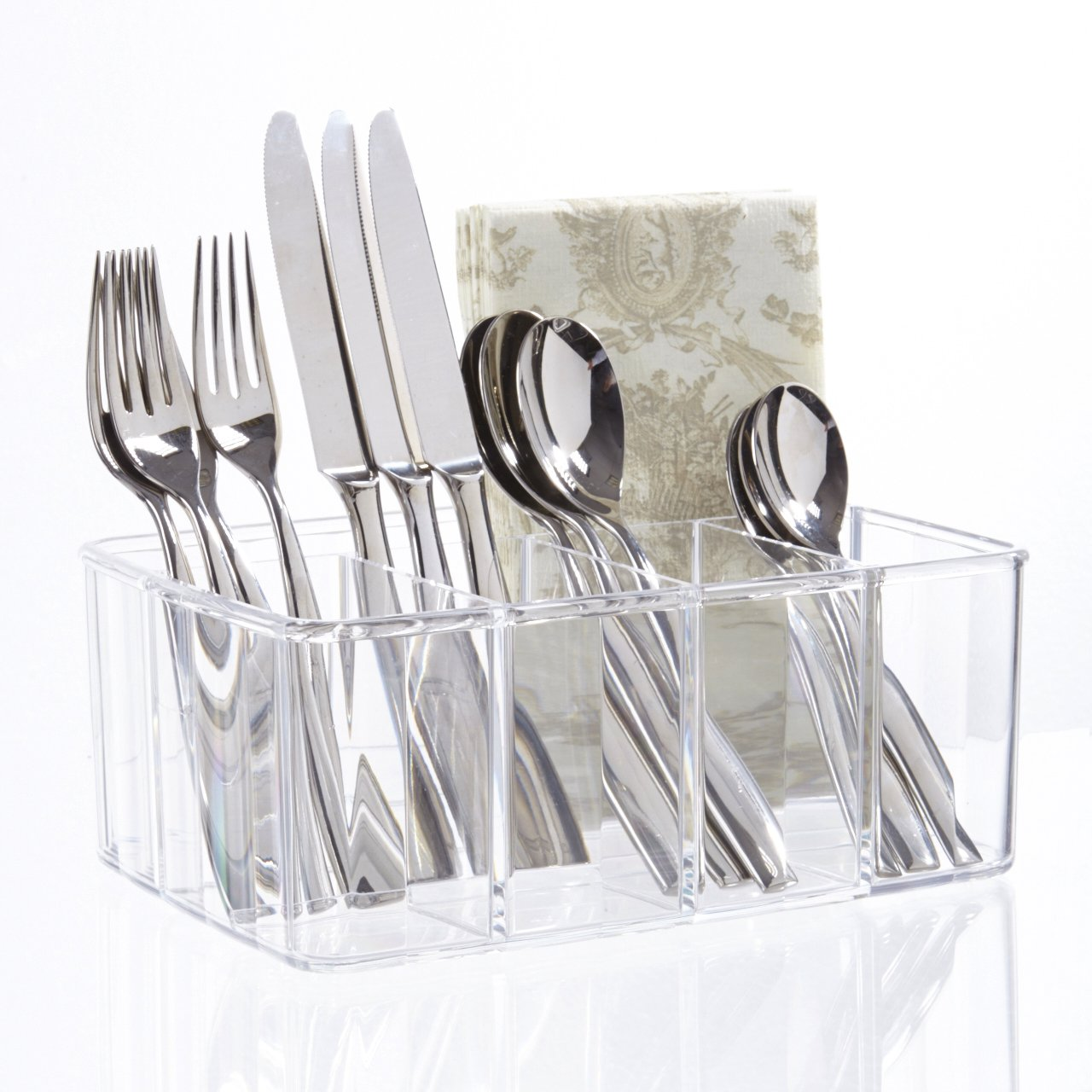 STORi Clear Plastic Utensil and Condiment Caddy | 5 Compartments by STORi