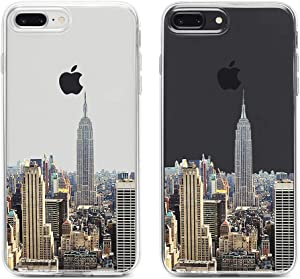 uCOLOR Clear Case Compatible with iPhone 8 Plus / 7 Plus New York Skyline Transparent Protective Soft TPU Bumper+Hard PC Back Cover for iPhone 7 Plus/8 Plus/6S Plus/iPhone 6 Plus (5.5 inch)