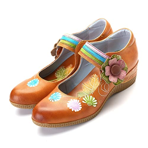 624cfce4 gracosy Mocasines de Mujer Wedge Merceditas Planos de Cuero cómodos Planos  para Mujer Zapatos Flores Slip-on, Plataforma Zapatos de conducción de  Verano ...