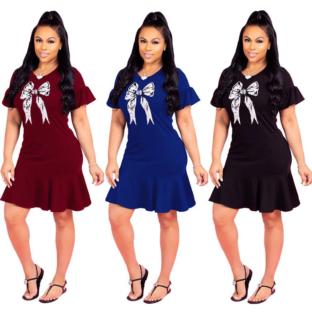 Women\'s Sequin Bowknot Ruffle Short Sleeve Swing Midi Dress Small Blue