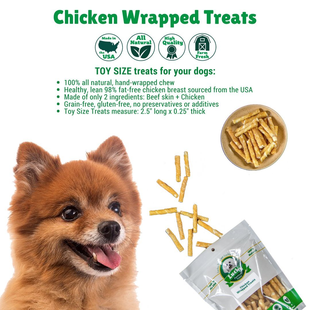 Lucky Premium Treats Chicken Wrapped Rawhide Chews for Toy and Lap Dogs, All Natural Dog Chews (100 Chews) by Lucky Premium Treats (Image #5)