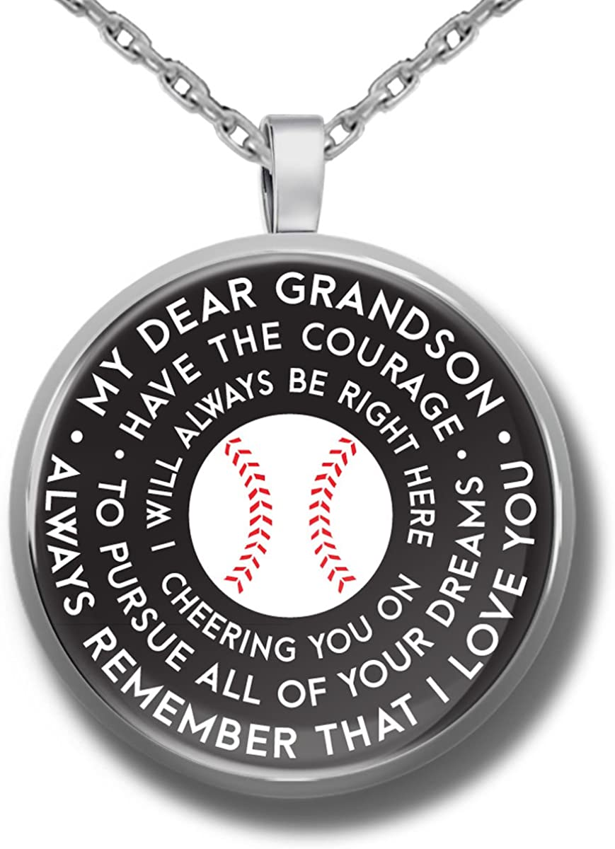 To my son baseball pendant necklace