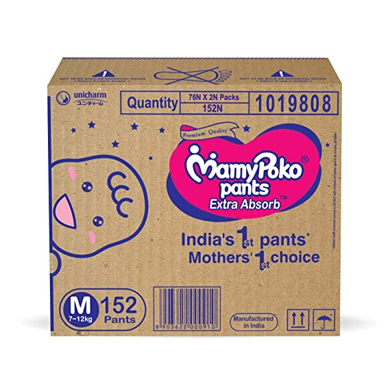 MamyPoko Pants Extra Absorb Diaper Box, Medium (7 - 12 kg), 152 Count