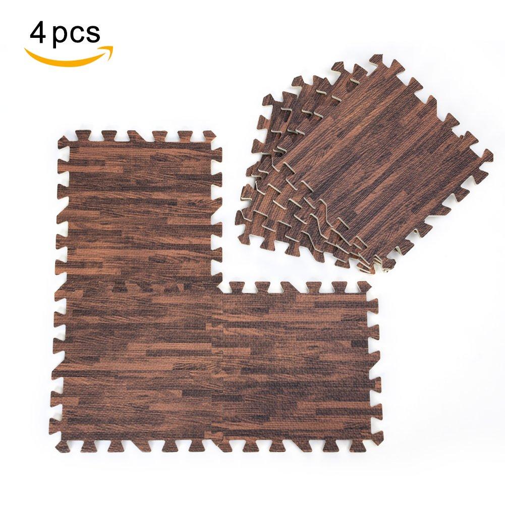 9PZ 30 x 30 cm/4PZ 60 x 60 cm Tapis Puzzle en Mousse EVA Grain du Bois à clipser trois couleurs Brown Random Yosoo