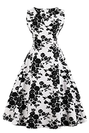 824bd0afdddb3 MisShow Women s Vintage Floral Rockabilly Swing Party Casual Dresses Size S