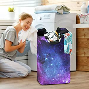 Starfield Galaxy Space Large Laundry Baskets Washing Hamper Bag Beautiful Star Planet Dirty Clothes Storage Bin Toy Book Clothing Holder with Handles for Home Bathroom Bedroom 50L