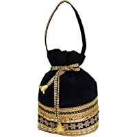 Bagaholics Ethnic Silk Potli bag Batwa Pouch Clutch with Embroidery and Metal Bead work Gift For Women