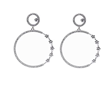 f50412cea Fashion Jewelry Platinum Plated 925 Sterling Silver Large hoops Earrings  Dangle with CZ Pave for Women