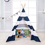Miyaya 6' Indoor Indian Playhouse Toy Teepee Play Tent for Kids Toddlers Canvas Teepee with Carry Case with Mat (Blue Stripe)