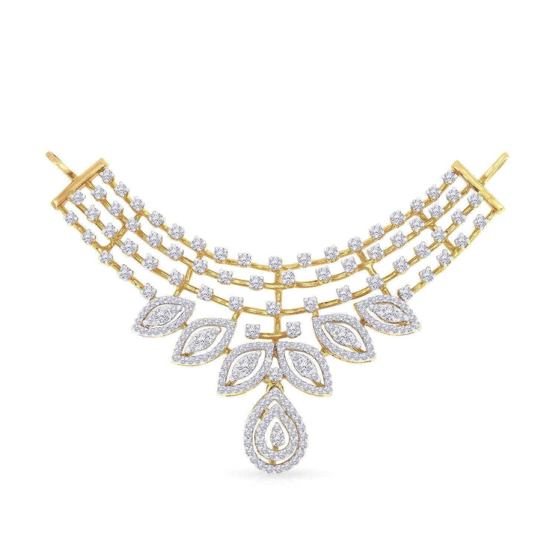 Malabar Gold and Diamonds 18KT Yellow Gold and Diamond Pendant for Women