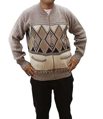 Mens Gents New Pattern Long Sleeve Zip Up Knitted Grandad Warm Zipper Cardigan