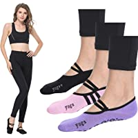 Agarre barre Barre Pilates yoga calcetines calcetines de agarre antideslizante antideslizante calcetines mujer ballet pack de 3 (Black * 3)