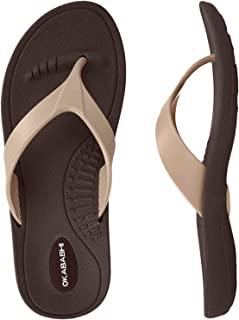product image for Okabashi Marina Women Open Toe Synthetic Brown and Gold Thong Sandal (Small 5-6)