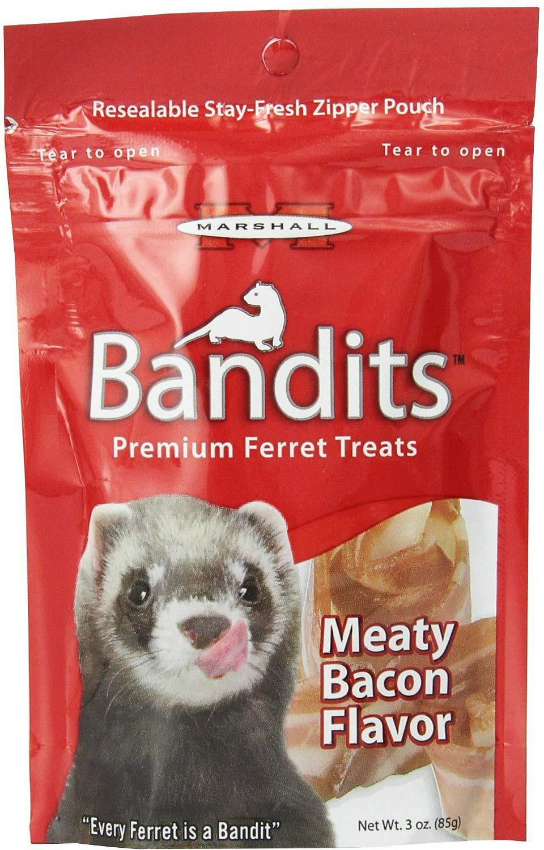 Marshall Ferret Treats, Meaty Bacon, Bandits, 3 Ounce, 20 Pack by Marshall