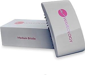 360 Waves Brush- Gray Rectangular Curved - (Medium Bristles) - Waveology Grooming Co.