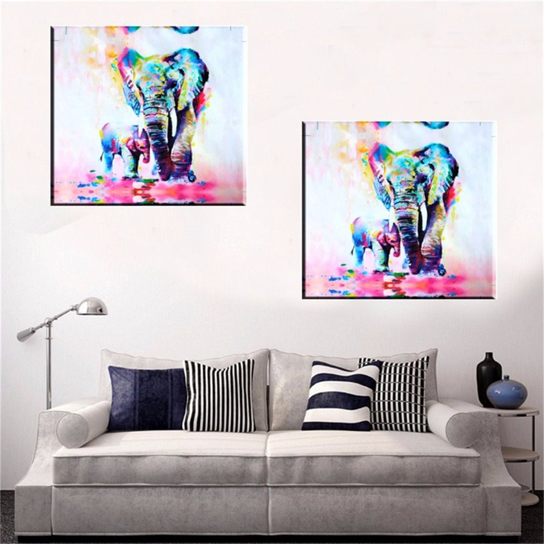 Amazon.com: MOHOO 50x50cm Elephant Oil Painting Canvas Wall Art wall ...