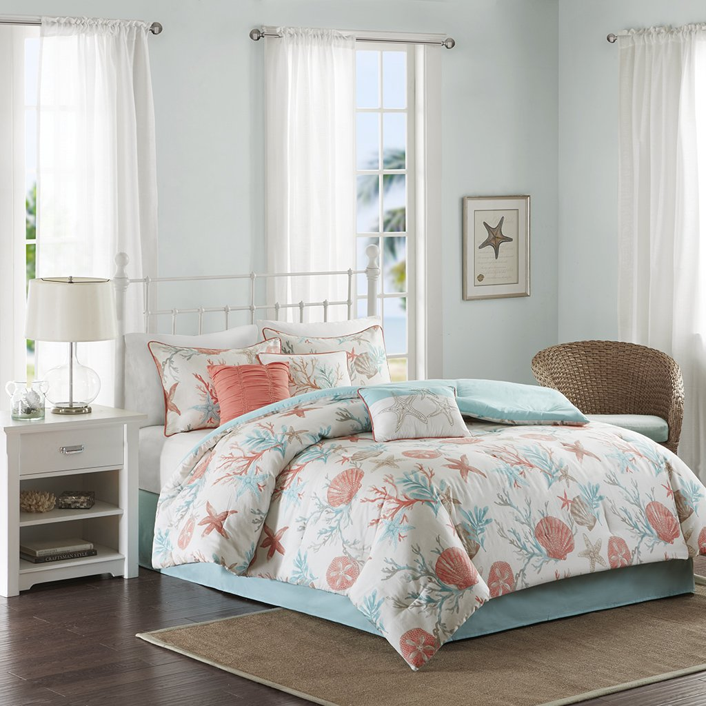amazoncom madison park pebble beach 7 piece cotton comforter set coral u0026 teal queen coastal theme includes 1 comforter 2 shams 1 bed skirt