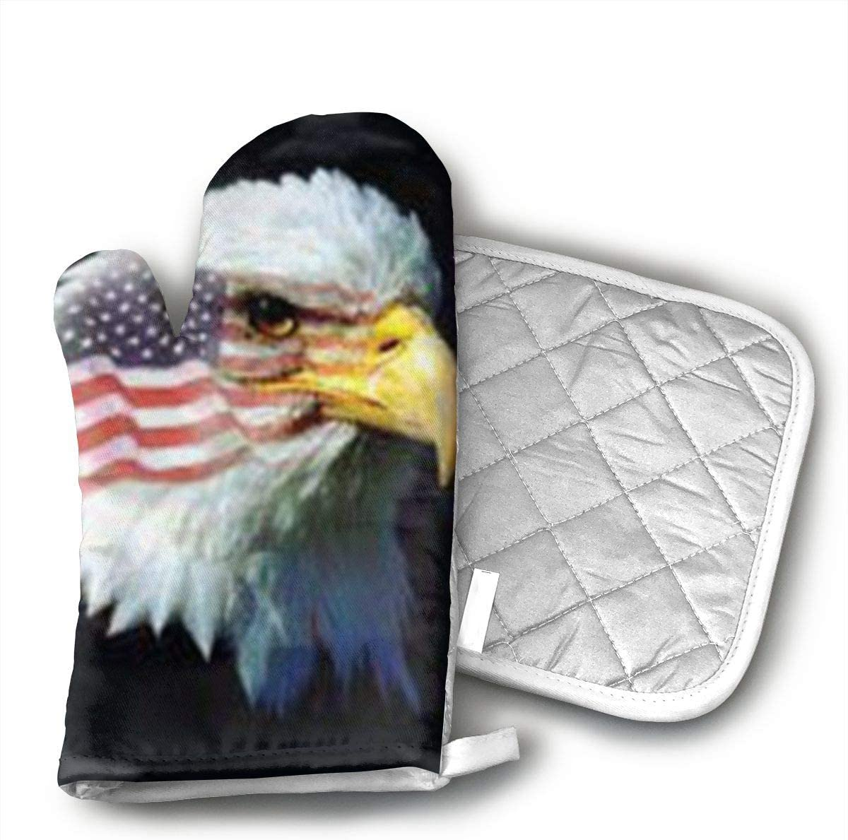 Patriotic Eagle Flag Oven Mitts,Heat Resistant Microwave BBQ Oven Insulation Cotton Gloves Baking Pot Mitts Kitchen Cooking