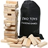 Lewo Wooden Stacking Board Games Tumble Tower Building Blocks Set 54 pieces with Storage Bag