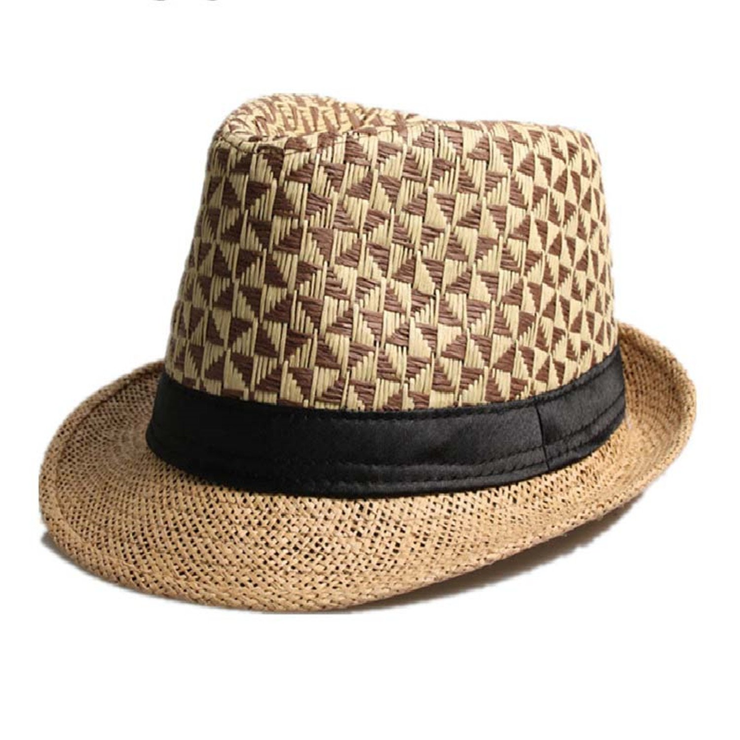4e2c307f6a95a Trendy Fashion Summer Straw Man and Women s Sun Hats Fedora Trilby Gangster Cap  Summer Beach Women Sun Straw Panama Hat with 3 at Amazon Women s Clothing  ...