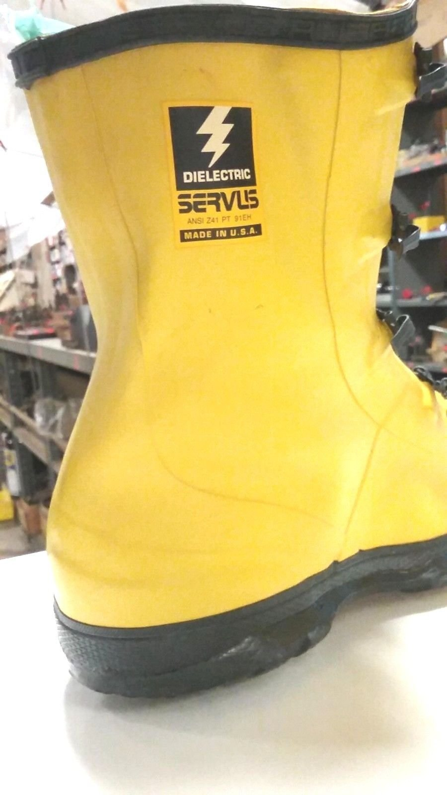 NEW -SERVUS MEN'S SIZE 14 - DIELECTRIC - 4 BUCKLE - YELLOW - OVERBOOT #31910-14 USA