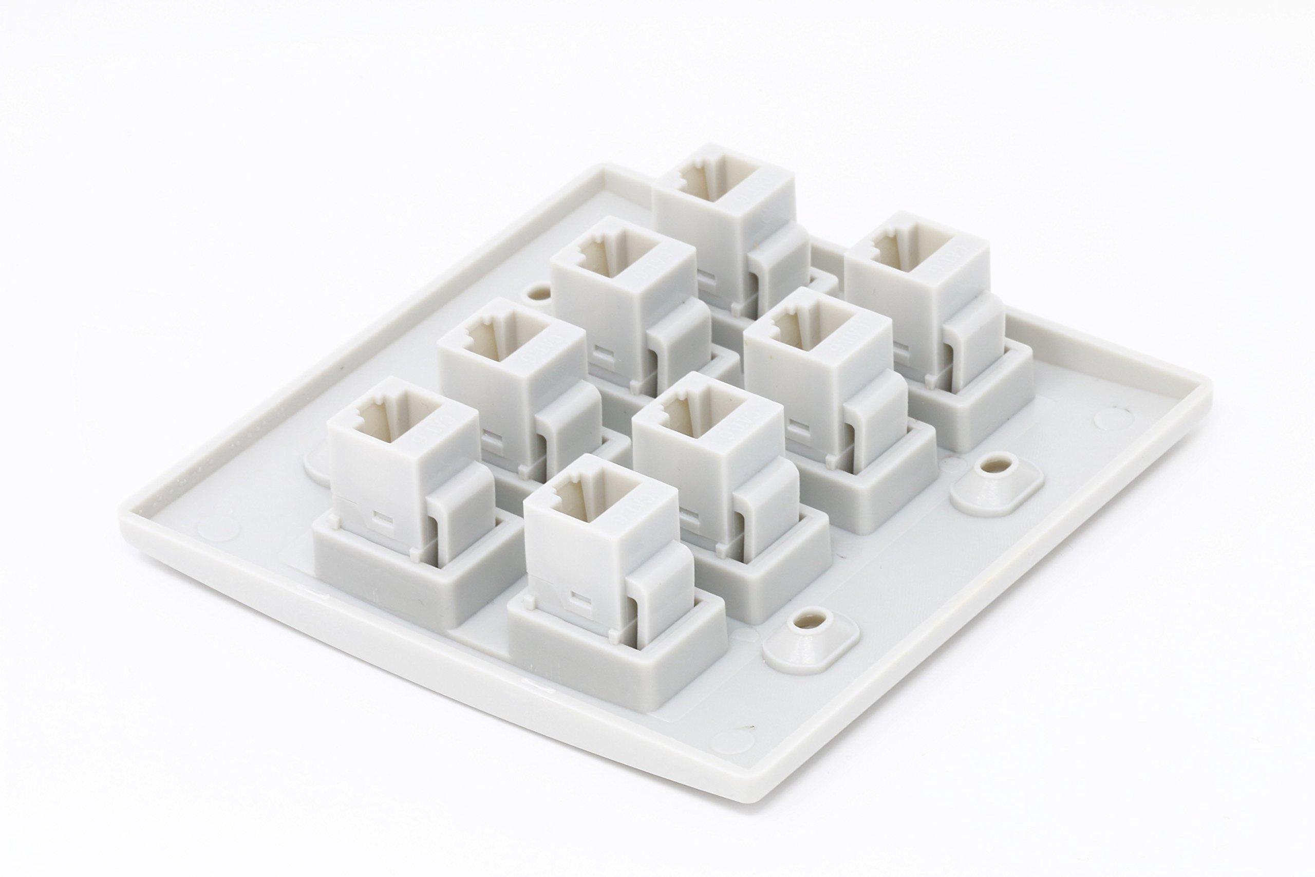 RiteAV 8 Port Flat Dual 2 Gang Ethernet Cat5e RJ45 Network Wall Plate - White by RiteAV