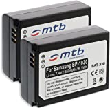 2x Batería ED-BP1030, BP1130 para Samsung NX200, NX300, NX1000, NX1100, NX2000