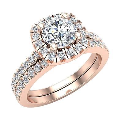 Amazoncom Ravishing Round Cushion Halo Diamond Wedding Ring Set