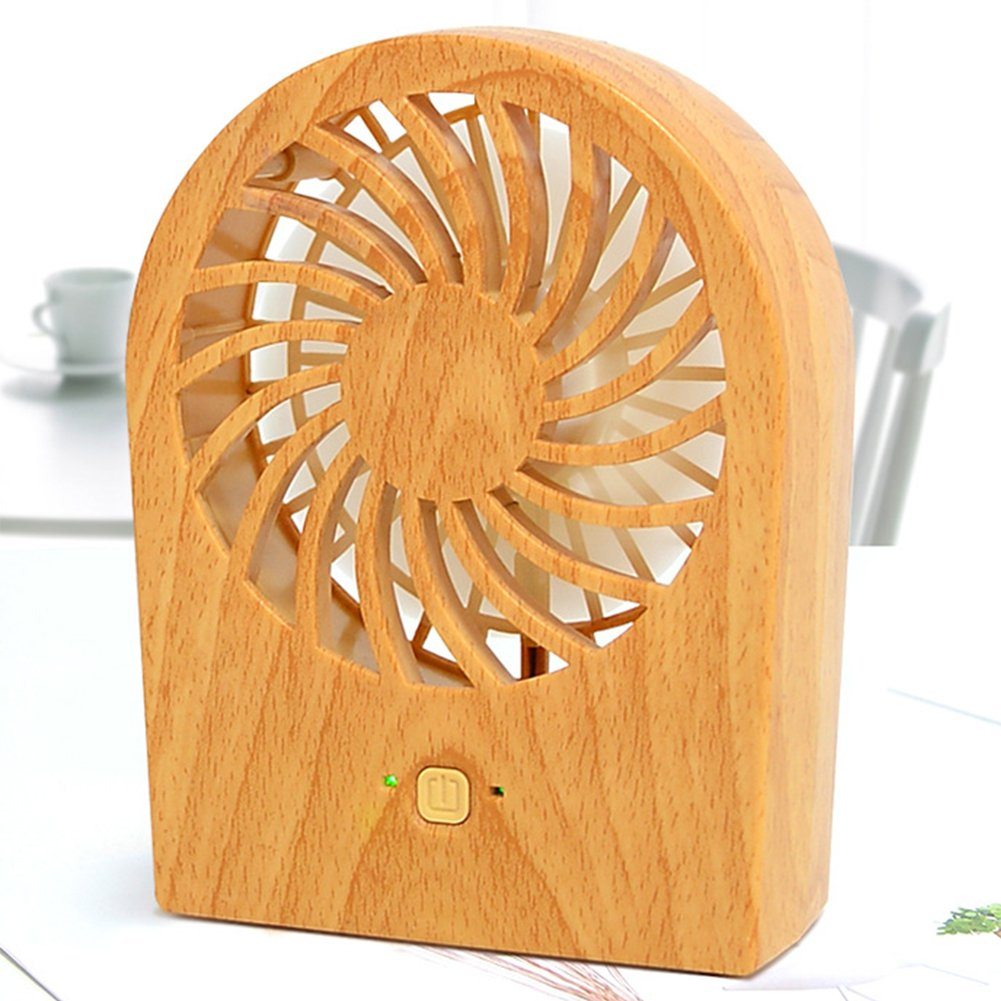 Yvonne Portable Mini Fan, Hand-held Mini USB Rechargeable Fan, Personal Wood Grain Nordic Electric Cooling Fan Desk Fan Small Quiet Travel Fan for Home, Office, Camping, Hiking(Light wood grain)