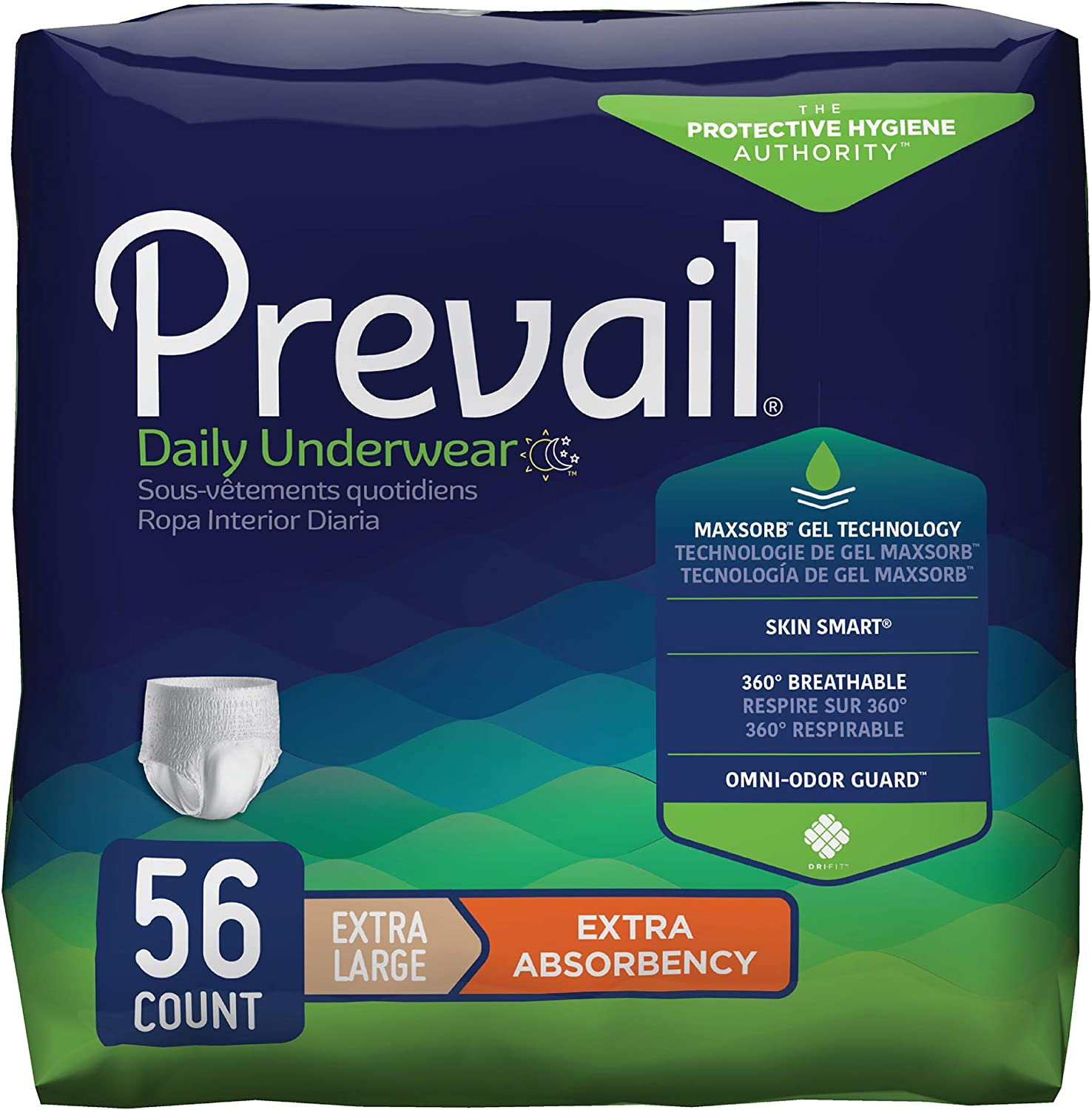 Prevail Protective Underwear, Extra Absorbency, Extra Large, 14 Count (Pack of 4 (56 Count))