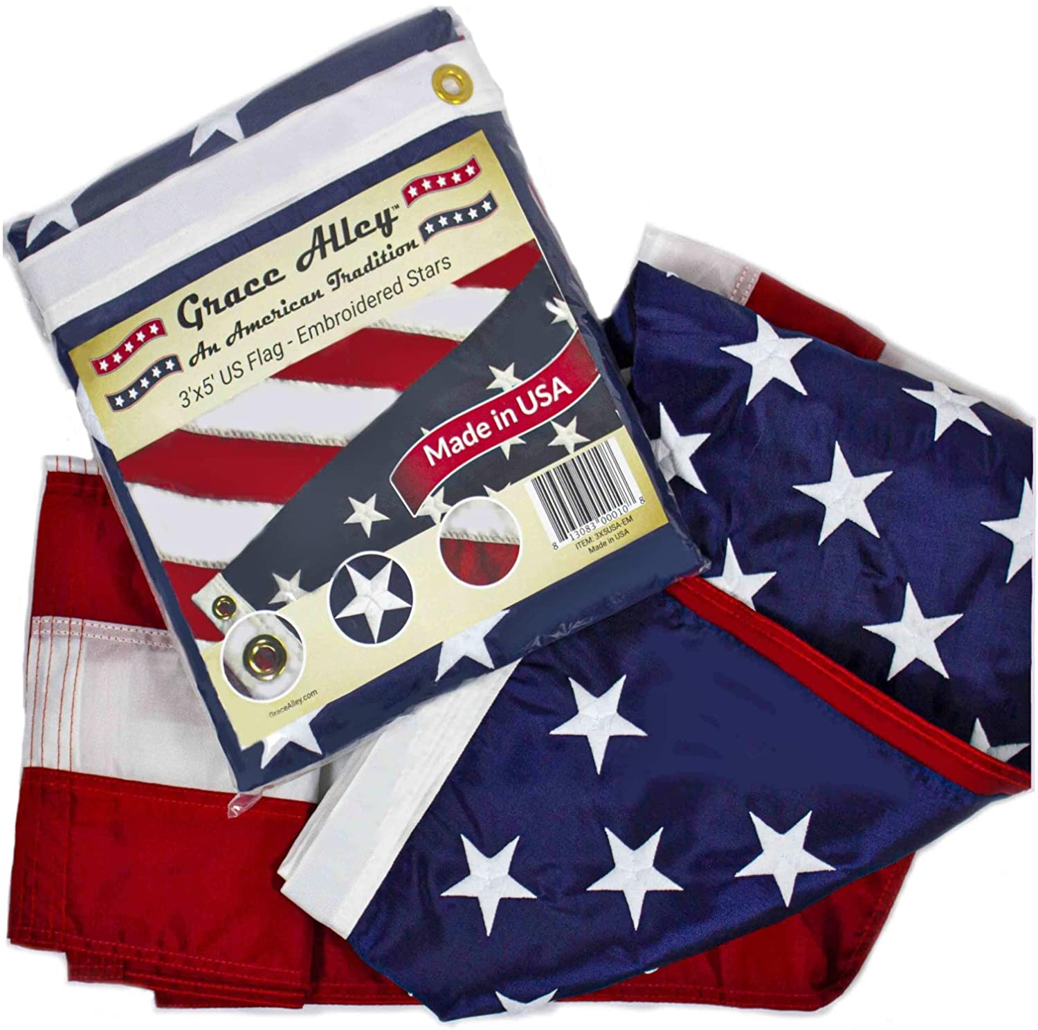 Grace Alley American Flag: 3x5 FT US Flag - 100% Made in USA. Embroidered Stars, Sewn Stripes and Brass Grommets. Fade Resistant, Heavy Duty, Long Lasting Nylon for Outdoor Durability. : Garden & Outdoor