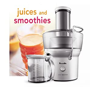 Breville Stainless Steel Juice Fountain Compact Juicer with Bonus Tuttle Juices and Smoothies Cookbook