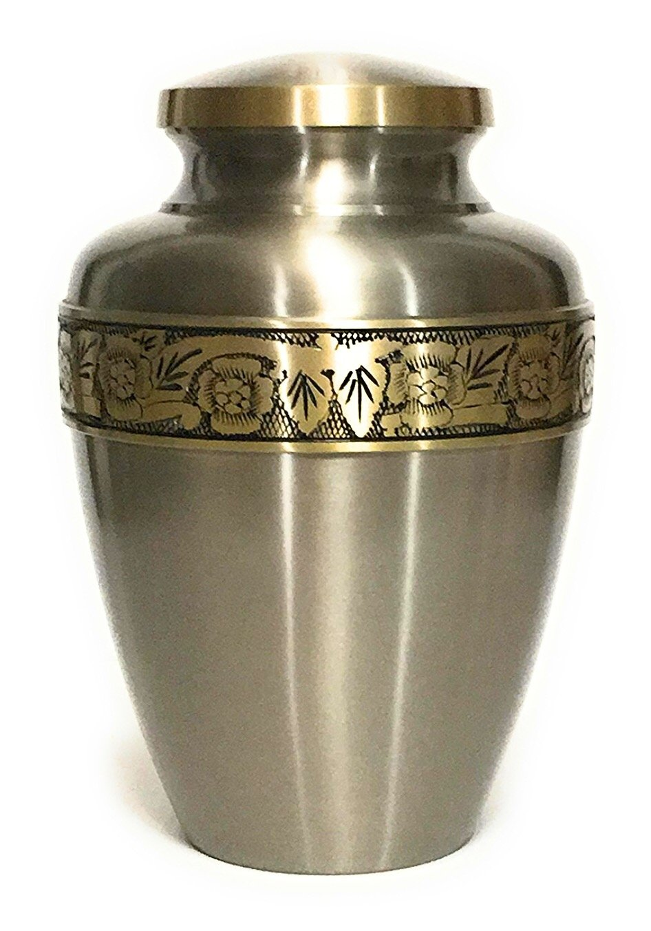 Indian Artefacts Handcrafted Silver Cremation Urn with Gold Floral Border for Adult Human Ashes,10 Inches High