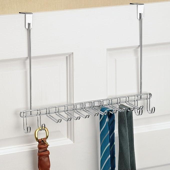 InterDesign Colgador Cinturones y Corbatas para Puerta Classico, Metal, Plata, 9x37x29 cm