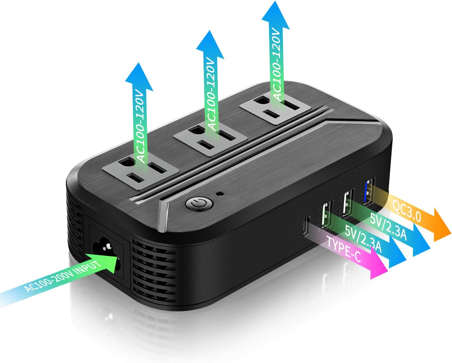 Voltage Converter 2300W Power Step Down 220V to 120V Universal Travel Adapter Power Converter Power Transformer w/3 AC outlets 3USB Ports 1 Type-C International Plug Converters Over 180 Countries: Home Audio & Theater