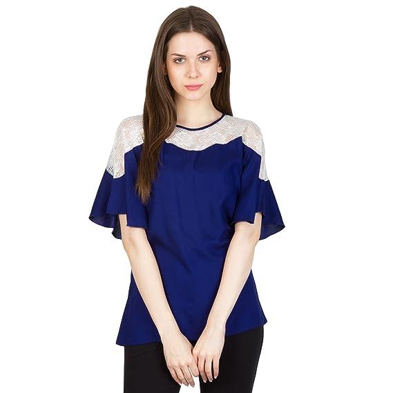 3fd8088491d421 Patrorna Blended Women s Kimono Sleeve Empire Tops in Royal Blue(Size XS