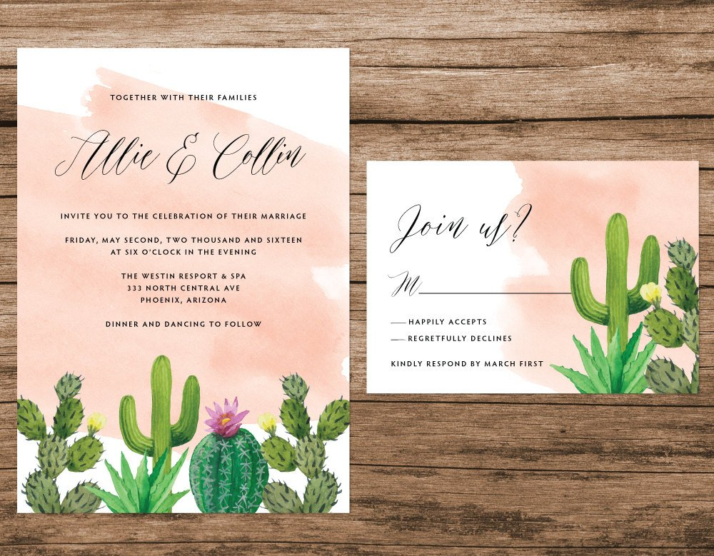 Cactus Wedding Invitation, Desert Wedding Invitation, Cactus Watercolor Invitation, Pink Succulent Invitation