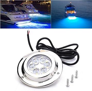 LED Underwater Light IP68 High Power Bright Underwater Light Boat 3W High Power Bright Waterproof 12V Stainless Marine 6 LED