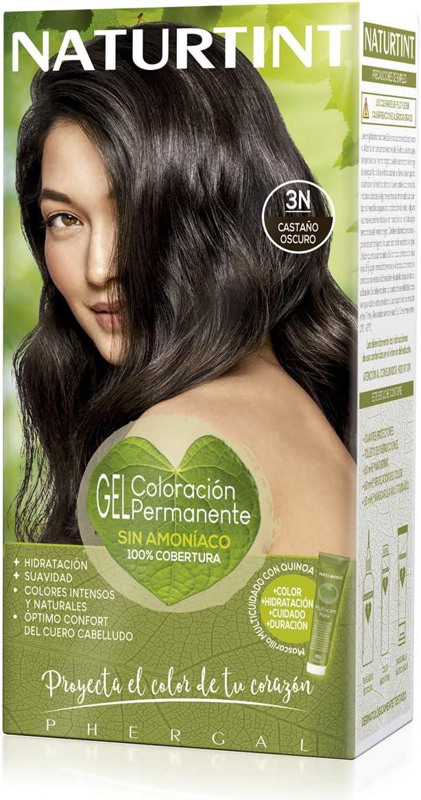Naturtint | Coloración sin amoniaco | 100% cobertura de canas | Ingredientes vegetales | Color natural y duradero | 3N Castaño Oscuro | 170ml