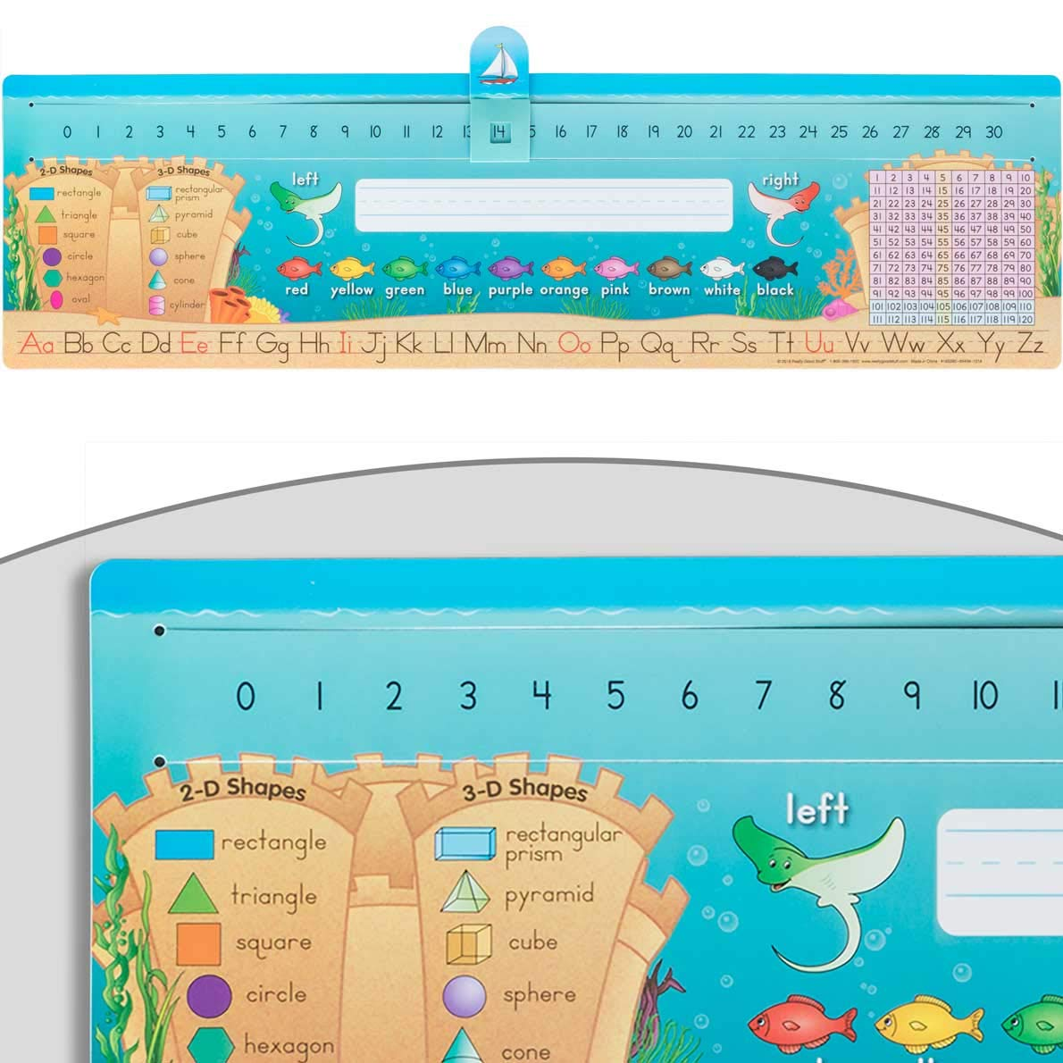 Really Good Stuff Slide to Count Self Adhesive Deluxe Plastic Desktop Helpers Sea Theme