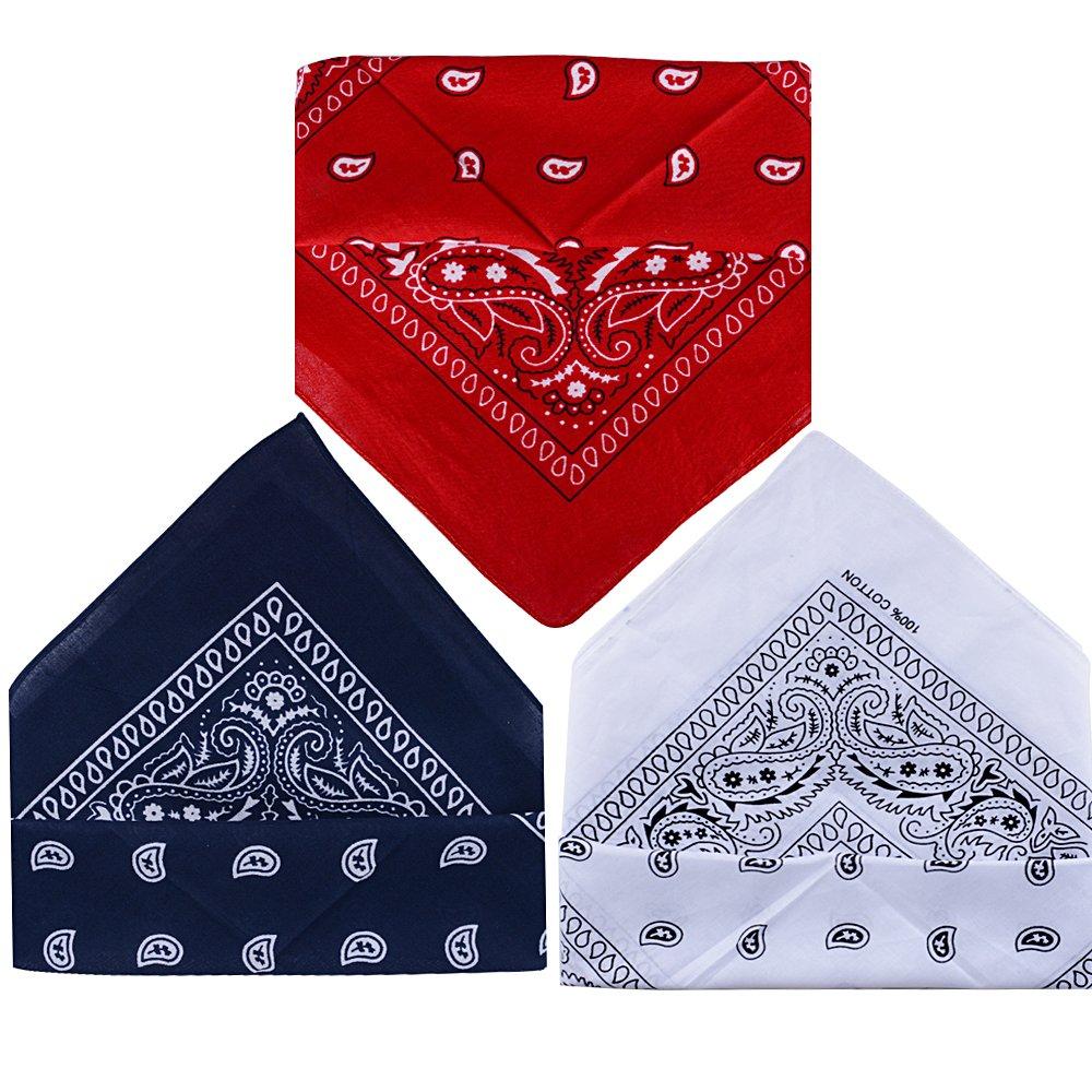 100/% Algod/ón Pa/ñuelos Bandanas de Modelo de Paisley/para Cuello//Cabeza Multicolor M/últiple para Mujer y Hombre QUMAO Pack de 3 Pack de 3; Blanco/&rojo/&azul oscuro