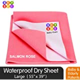 BeyBee Premium Quick Dry Mattress Protector Baby Cot Sheet (Large, Salmon Rose)